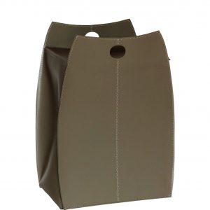 PAOLINA: portabiancheria in cuoietto colore Tortora, con sacco in cotone removibile, chiusura a ribalta in cuoio, contenitore porta oggetti, borsa in cuoio, prodotto da Limac Design®.