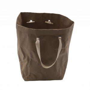 ISIDE: Borsa in cellulosa colore Marrone, completa di sacco, cesta portabiancheria, contenitore per giochi, portaoggetti, borsa mare, Made in Italy by Limac Design