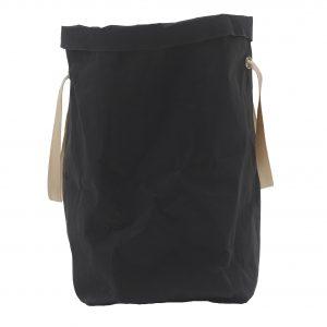 ISIDE: Borsa in cellulosa colore Nero, completa di sacco, cesta portabiancheria, contenitore per giochi, portaoggetti, borsa mare, Made in Italy by Limac Design.