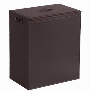 PETER: Portabiancheria in cuoio colore Testa di Moro, cesta porta biancheria con sacco in cotone removibile e coperchio in cuoio, Limac Design®.
