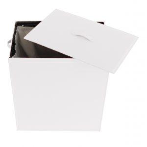 ANGELA: Portabiancheria in cuoio colore Bianco, cesta porta biancheria con sacco in cotone removibile e coperchio in cuoio, Limac Design®.