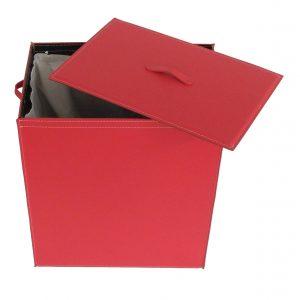 PETER: Portabiancheria in cuoio colore Rosso, cesta porta biancheria con sacco in cotone removibile e coperchio in cuoio, Limac Design®.