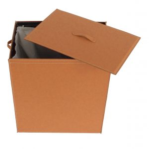 ANGELA: Portabiancheria in cuoio colore Marrone, cesta porta biancheria con sacco in cotone removibile e coperchio in cuoio, Limac Design®.