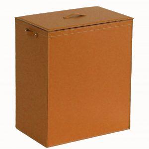 PETER: Portabiancheria in cuoio colore Marrone, cesta porta biancheria con sacco in cotone removibile e coperchio in cuoio, Limac Design®.