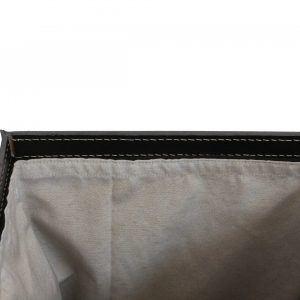 PETER: Portabiancheria in cuoio colore Antracite, cesta porta biancheria con sacco in cotone removibile e coperchio in cuoio, Limac Design®.