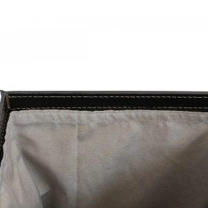 ANGELA: Portabiancheria in cuoio colore Antracite, cesta porta biancheria con sacco in cotone removibile e coperchio in cuoio, Limac Design®.