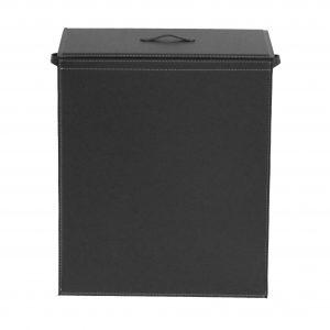 ANGELA: Portabiancheria in cuoio colore Nero, cesta porta biancheria con sacco in cotone removibile e coperchio in cuoio, Limac Design®.