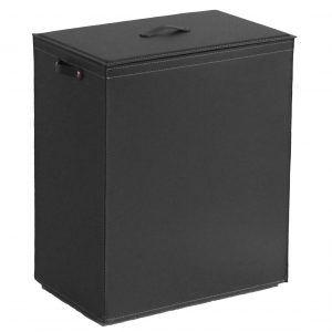 PETER: Portabiancheria in cuoio colore Nero, cesta porta biancheria con sacco in cotone removibile e coperchio in cuoio, Limac Design®.
