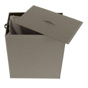 ANGELA: Portabiancheria in cuoio colore Grigio Tortora, cesta porta biancheria con sacco in cotone removibile e coperchio in cuoio, Limac Design®.