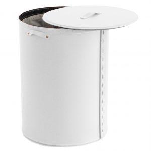 RICKY: Panier à linge oval en cuir couleur Blanc, avec Sac à linge amovible, Idée cadeau, Made in Italy by Limac Design®.