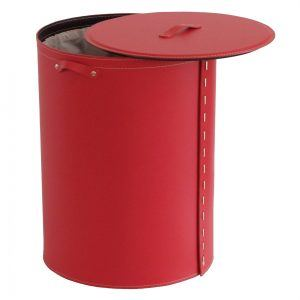 RICKY: Portabiancheria ovale in cuoio colore Rosso, cesta porta biancheria con sacco in cotone removibile e coperchio in cuoio, Limac Design®.