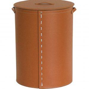 RICCARDA: Portabiancheria ovale in cuoio colore Marrone, cesta porta biancheria con sacco in cotone removibile e coperchio in cuoio, Limac Design®.