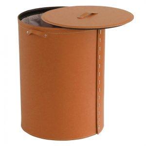 RICKY: Portabiancheria ovale in cuoio colore Marrone, cesta porta biancheria con sacco in cotone removibile e coperchio in cuoio, Limac Design®.