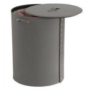 RICKY: Portabiancheria ovale in cuoio colore Tortora, cesta porta biancheria con sacco in cotone removibile e coperchio in cuoio, Limac Design®.