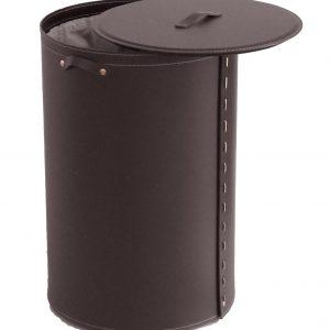 ROBY: Portabiancheria in cuoio colore Testa di Moro, cesta porta biancheria con sacco in cotone removibile e coperchio in cuoio, Limac Design®.