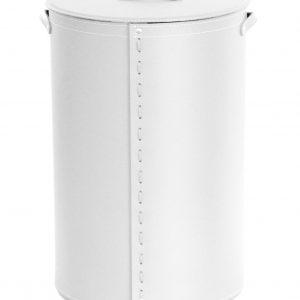 ROBY: Portabiancheria in cuoio colore Bianco, cesta porta biancheria con sacco in cotone removibile e coperchio in cuoio, Limac Design®.