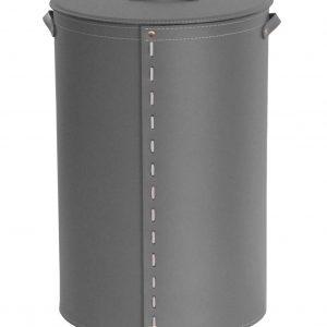 ROBY: Portabiancheria in cuoio colore Antracite, cesta porta biancheria con sacco in cotone removibile e coperchio in cuoio, Limac Design®.