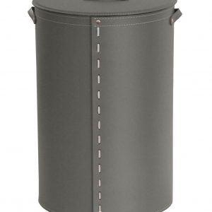 ROBY:  Portabiancheria in cuoio colore Grigio Tortora, cesta porta biancheria con sacco in cotone removibile e coperchio in cuoio, Limac Design®.