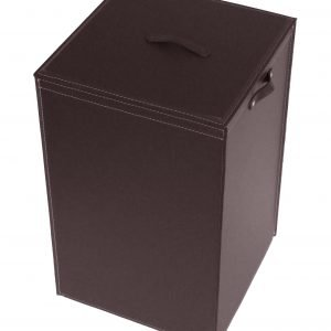 DARIA: Portabiancheria in cuoio colore Testa di Moro, cesta porta biancheria con sacco in cotone removibile e coperchio in cuoio, Limac Design®.