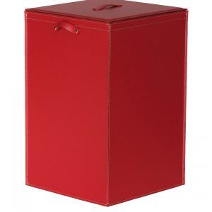 DAVID: Portabiancheria in cuoio colore Rosso, cesta porta biancheria con sacco in cotone removibile e coperchio in cuoio, Limac Design®.