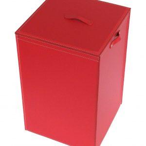 DARIA: Portabiancheria in cuoio colore Rosso, cesta porta biancheria con sacco in cotone removibile e coperchio in cuoio, Limac Design®.