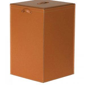 DARIA: Portabiancheria in cuoio colore Marrone, cesta porta biancheria con sacco in cotone removibile e coperchio in cuoio, Limac Design®.