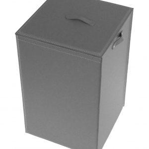 DARIA: Portabiancheria in cuoio colore Antracite, cesta porta biancheria con sacco in cotone removibile e coperchio in cuoio, Limac Design®.