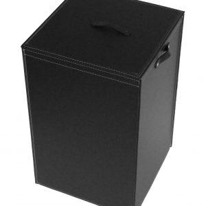 DARIA: Portabiancheria in cuoio colore Nero, cesta porta biancheria con sacco in cotone removibile e coperchio in cuoio, Limac Design®.
