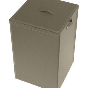 DAVID: Portabiancheria in cuoio colore Grigio Tortora, cesta porta biancheria con sacco in cotone removibile e coperchio in cuoio, Limac Design®.