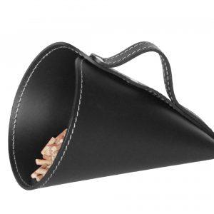 PIRIA: Sessola in cuoio colore Nero, palletta per pellet, contenitore per caramelle, pala, idea regalo, Made in Italy.