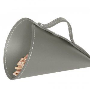PIRIA: Sessola in cuoio colore Tortora, palletta per pellet, contenitore per caramelle, pala, idea regalo, Made in Italy.