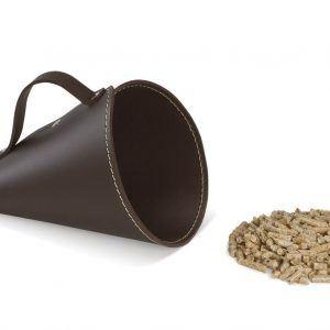PIRIA: Sessola in cuoio colore Testa di Moro, palletta per pellet, contenitore per caramelle, pala, idea regalo, Made in Italy.