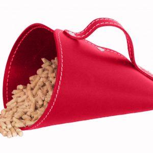 PIRIA: Sessola in cuoio colore Rosso, palletta per pellet, contenitore per caramelle, pala, idea regalo, Made in Italy.