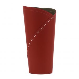 KATRINA: umbrella stand in leather Red colour, Inside there is plastic drip trat, Walking Stick Stand, Umbrella Storage, made in Italy Limac Design®.