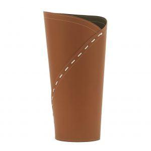 KATRINA: porta-ombrelli in cuoio Marrone, portaombrelli di design con vaschetta raccogligocce, portaombrello made in Italy Limac Design®.