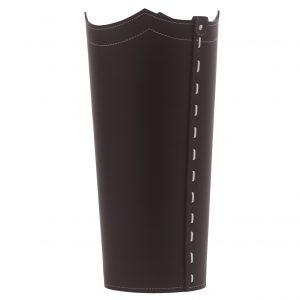 UMBRELLA: Schirmständer aus regenerated leder farbe Dunkelbraun, Regenschirmständer mit Wasserauffangschale, Made in Italy by Limac Design®.