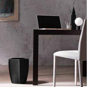 POLIGONO: Waste-paper Basket in leather Black colour, Waste Bin, Wastebasket, Wastepaper by Limac Design®.