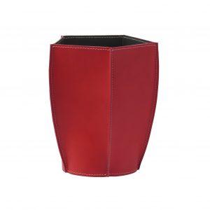 POLIGONO cestino gettacarte in cuoio colore Rosso, cesto gettacarte di design, per casa e ufficio by Limac Design®.