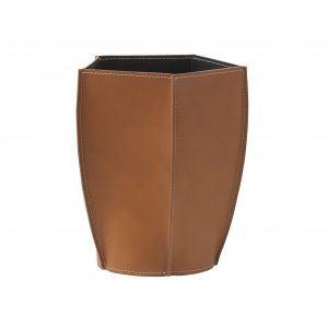 POLIGONO cestino gettacarte in cuoio colore Marrone, cesto gettacarte di design, per casa e ufficio by Limac Design®.
