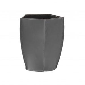 POLIGONO cestino gettacarte in cuoio colore Antracite, cesto gettacarte di design, per casa e ufficio by Limac Design®.