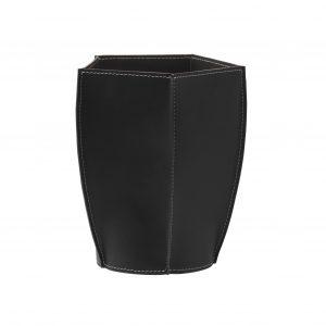 POLIGONO cestino gettacarte in cuoio colore Nero, cesto gettacarte di design, per casa e ufficio by Limac Design®.