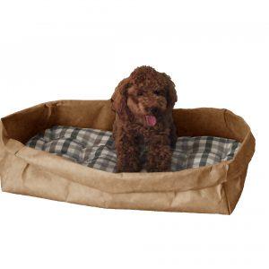 PONGO: cuccia per cani e gatti in fibra di cellulosa colore Avana, con cuscino anallergico removibile in cotone a quadretti, Made in Italy, Limac Design®.