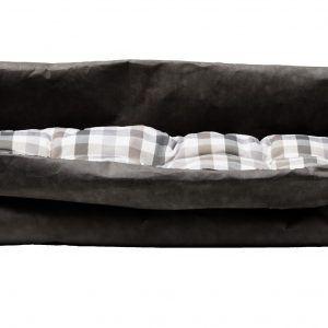 PONGO: cuccia per cani e gatti in fibra di cellulosa colore Nero, con cuscino anallergico removibile in cotone a quadretti, Made in Italy, Limac Design®.