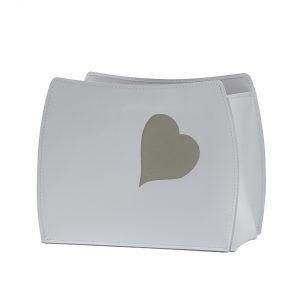BEATRICE: portariviste in cuoio colore Bianco con cuore colore Tortora, borsa in cuoio, cesto, cestino, contenitore, Made in Italy  by Limac Design®.