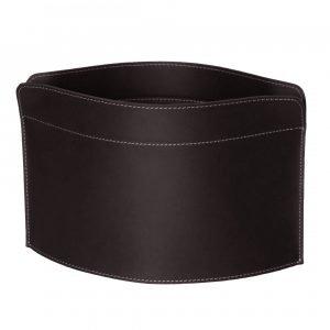 GIUSY: Revistero en cuero color Marrón Oscuro, para diarios y revistas, para cuarto de baño, oficina, recibidor, Made in Italy by Limac Design®.