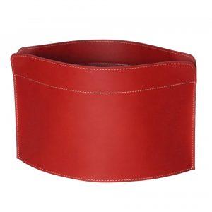 GIUSY: portariviste in cuoio colore Rosso, borsa in cuoio, cesto, cestino, contenitore, Made in Italy by Limac Design®.