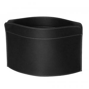 GIUSY: Revistero en cuero color Negro, para diarios y revistas, para cuarto de baño, oficina, recibidor, Made in Italy by Limac Design®.