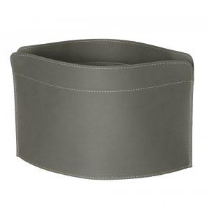 GIUSY: portariviste in cuoio colore Tortora, borsa in cuoio, cesto, cestino, contenitore, Made in Italy by Limac Design®.