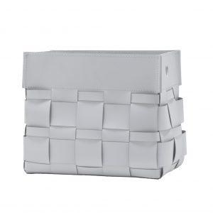 LORY: portariviste in cuoio intrecciato colore Bianco, borsa in cuoio, cestino da pavimento, contenitore moderno, giornali, quotidiani, Idea regalo, Made in Italy, prodotto da Limac Design®.