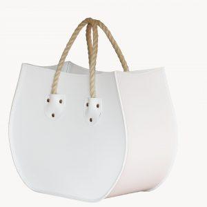 LIRA: portariviste in cuoio colore Bianco, porta giornali, quotidiani, cesto, per Casa, Ufficio, Made in Italy, Limac Design®.